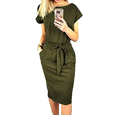 PRETTYGARDEN Women's 2020 Casual Short Sleeve Party Bodycon Sheath Belted Dress with Pockets: Clothing