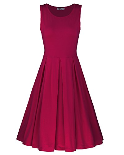 Styleword Women's Sleeveless Casual Cotton Flare Dress(Wine,L)