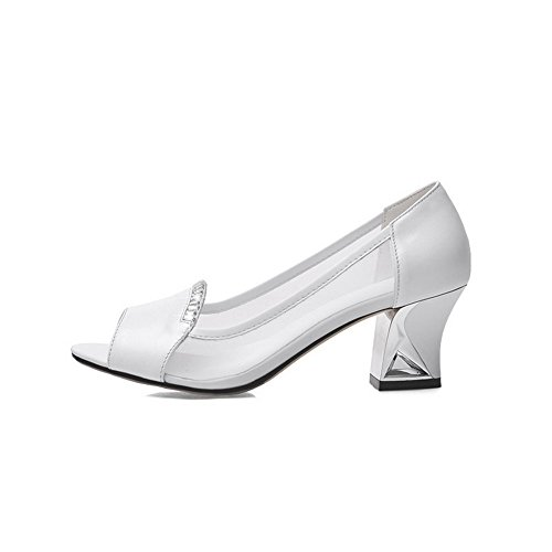 AmoonyFashion Womens Solid Soft Material Kitten-Heels Pull-on Peep-Toe Sandals White 1bKzpT