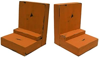 2 Piece Wood/Wooden Bookends - Orange - Decorative Distressed Vintage Wooden Book Display