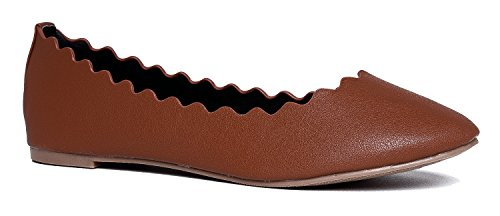 J. Adams Janie Scalloped Flat, Tan PU, 9 B(M) US