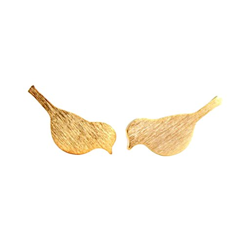 NOUMANDA Tiny Brushed Bird Stud Earrings Women Small Vivid Love Bird Earrings Jewelry (gold) ()