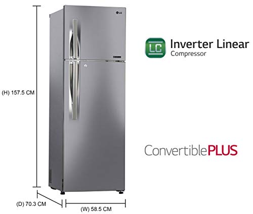 LG 284 L 3 Star Inverter Linear Frost-Free Double Door Refrigerator (GL-T302RPZ3, Shiny Steel, Convertible) 2021 August Frost free refrigerator: auto defrost function to prevent ice-build up Capacity 284 L: Suitable for families with 2 to 3 members or bachelors I Freezer capacity: 75L, Fresh food capacity: 185L Energy Rating: 3 Star