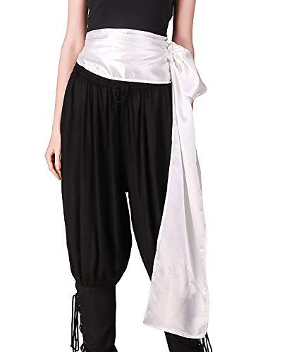 ThePirateDressing Pirate Medieval Renaissance Halloween Cosplay Costume Satin Large Sash (White) -