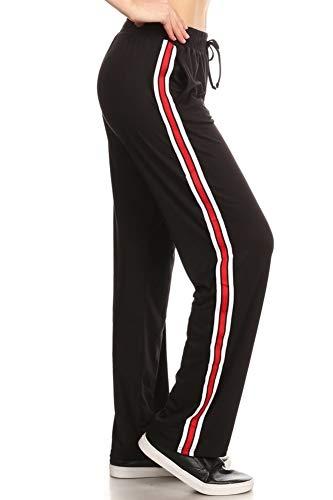 (ShoSho Womens Yoga Pants Side Striped Wide Leg Loose Sports Track Sweatpants Red/White Small)