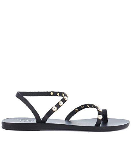 Nera Sandals In Eleftheria Greek Sandalo Apli Ancient Nero Pelle Con Perle 0n1Uxq