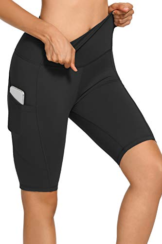 Opuntia High Waist Biker Shorts for Women - Yoga Workout Running Athletic Compression Exercise Black Seamless Side Pockets