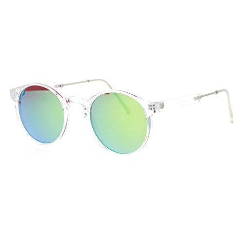 SA106 Retro Clear Frame Keyhole Mirrored Lens Sunglasses - Keyhole Sunglasses