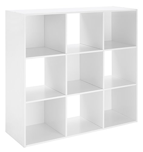 Whitmor Wood Storage Organizer, 9 Cube, (White Cube)