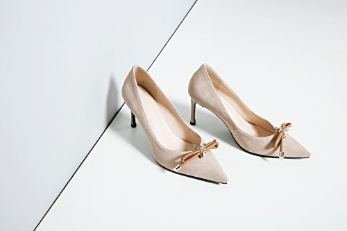 il singolo con AJUNR Moda tie sottile leggera beige Calzature tacchi 35 punta 8cm Sandali Alla scarpe filtro bow Donna Da alti qvAgvY