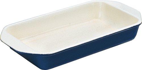 World Cuisine large blue 3 quart enamel cast-iron rectangular dish