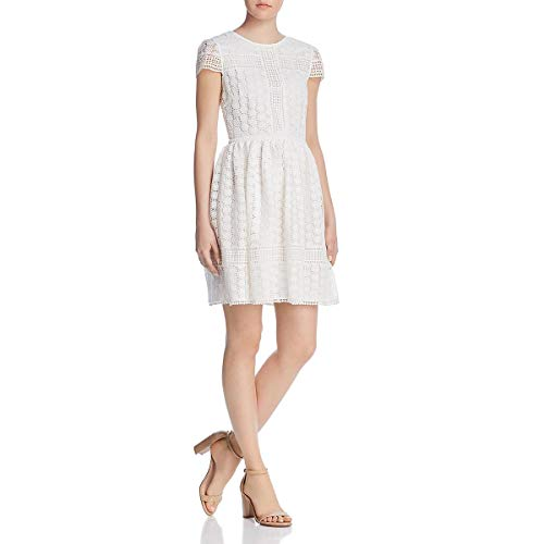 - French Connection Women's Parker Short Sleeve Lace Dress, Summer White, 6