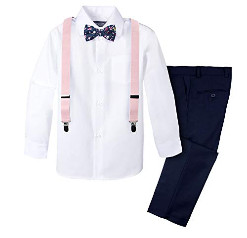 Spring Notion Boys' 4-Piece Suspender Outfit with Cotton Floral Bow Tie 3T White/Navy ()