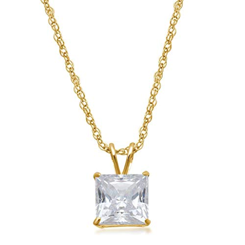 "Jewelili 10kt Yellow Gold 6mm Princess Cut Swarovski Zirconia Solitaire Pendant Necklace, 18"" Gold Filled Brass Chain"