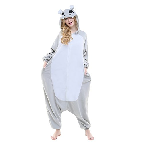 [Newcosplay Adult Unisex Grassland Animals Image Onesie Costume (S, Gray hippo)] (Ultimate Party Animal Halloween Costume)