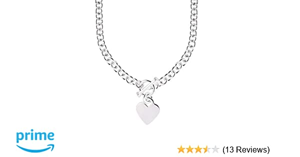 5d9330c5f Amazon.com: JewelryWeb Italian 925 Sterling Silver Heart Tag Disc Fancy  Toggle Necklace - 18 Inch: Chain Necklaces: Jewelry