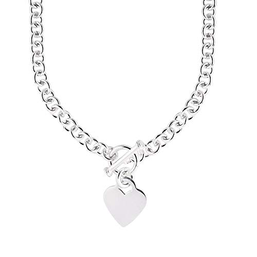 JewelryWeb Italian 925 Sterling Silver Heart Tag Disc Fancy Toggle Necklace - 18 Inch ()