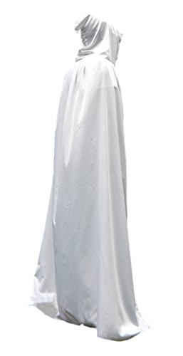 Long White Dress Costume (Unisex Long Robe Hooded Long Cape Ghost Role Play Costume White 110m S)
