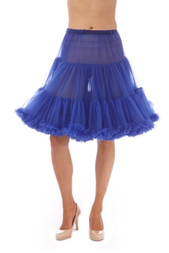 Malco Modes Luxury Vintage Knee-Length Crinoline Petticoat Skirt Pettiskirt, Adult Tutu for Rockabilly 50s Square Dance or Lolita Dress; Plus Size Petticoat Available Royal Blue]()