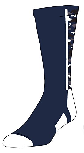 TCK Digital Camo Crew Socks (Navy/White, Large) by TCK Sports