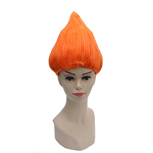 BERON Flame Shape Hair Cosplay Costume Party Wig Halloween Wig for Adults or Child (Orange) -