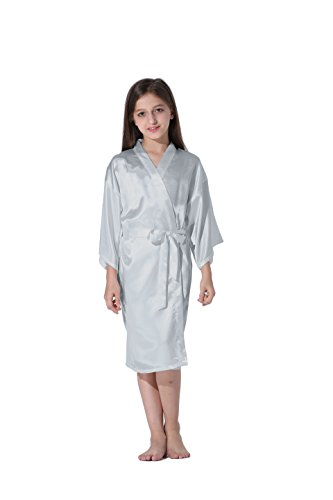 Vogue Forefront Girls' Satin Plain Kimono Robe Bathrobe Nightgown, Size 4, Light (Heights Bath Light)