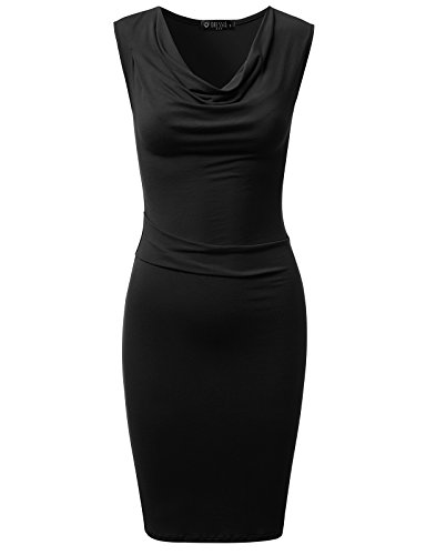 Cowl Drapey - DRESSIS Womens Knitted Sleeveless Cowl Neck Fitted Dress Black XL