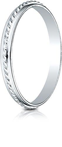 Benchmark 14K White Gold 2mm High Polished Rope Center Design Wedding Band Ring, Size (Center Design Wedding Band)