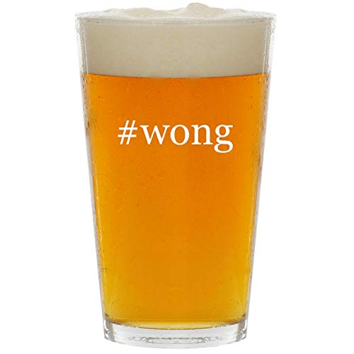 #wong - Glass Hashtag 16oz Beer Pint