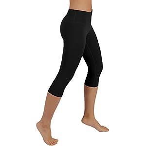 ODODOS Power Flex Yoga Capris Pants Tummy Control Workout Running 4 way Stretch Yoga Capris Leggingss With Hidden Pocket,Black,Small