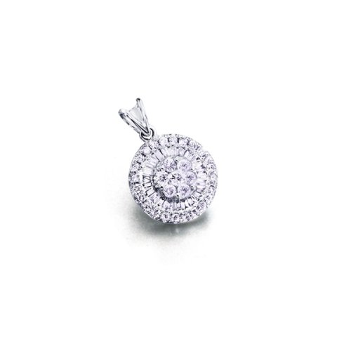 18Kt pendentif en or blanc. diamants 0,41 ct.