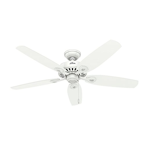 Hunter Fan Company 53240 Builder Elite Decorative Ceiling Fan, 13 Deg Blade Pitch, Housing, Snow, 5049 Cfm, 66 W, 52, White (Best Cfm Ceiling Fan)