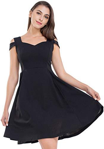 JTANIB Cocktail Party Dresses for Women, A Line Cold Shoulder V Neck Skater Dresses,Black - Empire Waist Cocktail