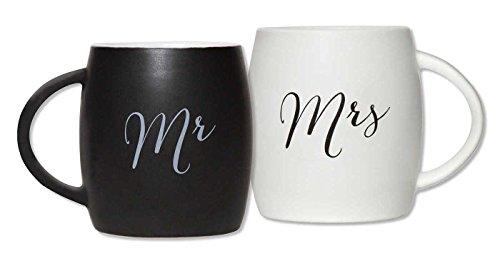 C.R. Gibson True Love Stoneware Coffee Mug Set, Mr. and Mrs,
