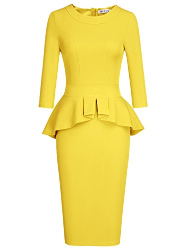 MUXXN Lady Solid Color Peplum Desgin Special Occasion Classic Bodycon Dress (Yellow XL)