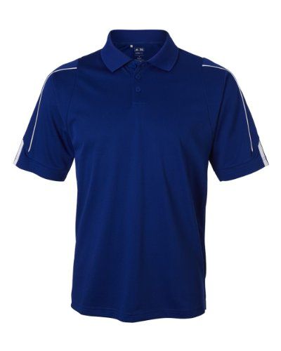 Three Stripes Golf T-shirt - Adidas Men's ClimaLite 3 Stripes Cuff Polo Shirt, Small, COLLEGIATE ROYAL/WHITE