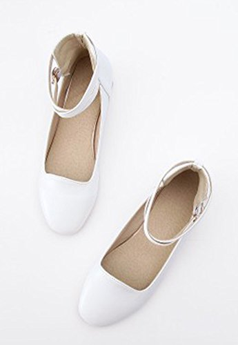 Aisun Womens Cute Comfort Round Toe Low Cut Dressy Buckled Ankle Strap Flats Shoes White fuDkV0Zi