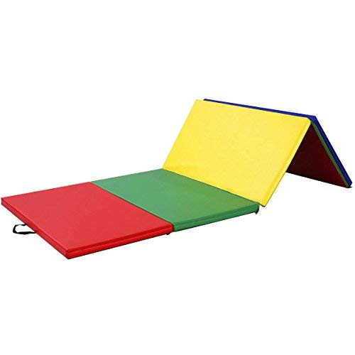 4'x8'x2 Gymnastics Mat Folding PU Panel Gym Fitness Exercise (Multicolor)