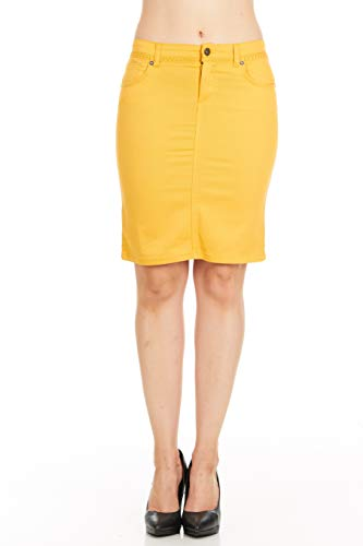 Fgr Girl's 7-16 Soft Stertchy Cotton Color Denim Skirt Plain Casual Yellow Size 8
