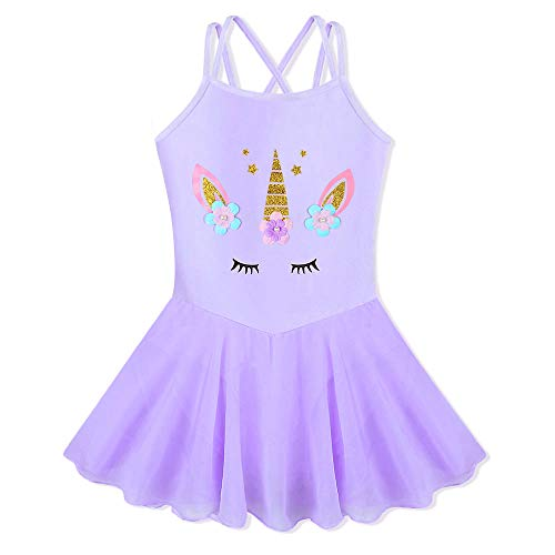BAOHULU Girl's Skirted Leotards Camisole Cartoon Ballet Tutu Dress B188_Purple_L