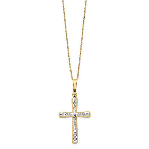 Bonyak Jewelry 14k Diamond Fascination 18in Cross Necklace in 14k Yellow Gold