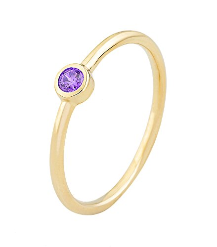 New Bezel Set (14k Yellow Gold Bezel Set Purple Cubic Zirconia February Birthstone Ring (9))