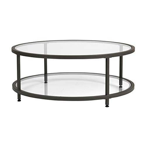 Studio Designs Home Camber Round Glass Coffee Table In Pewter With Clear Glass, Living Room Coffee Table, 71003