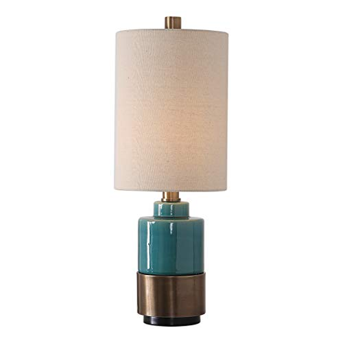 Uttermost Rema Bright Turquoise Glaze Ceramic Table Lamp