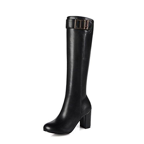 Blockabsatz Damen Damen Reißverschluss Beinstiefel Stretch Kniehohe Schnalle Größe Casual KingRover nHExwWqIn