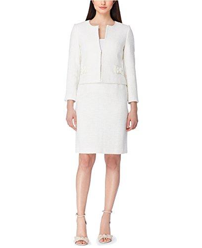 Tahari Women's Bow-Trim Tweed Skirt Suit Ivory White (Trim Tweed Suit)
