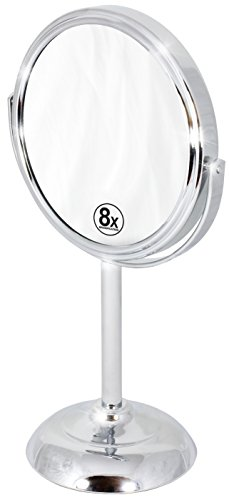 Decobros 6-inch Tabletop Two-Sided Swivel Vanity Mirror with 8x Magnification, 11-inch Height, Chrome Finish (Pedestal Makeup Mirror)