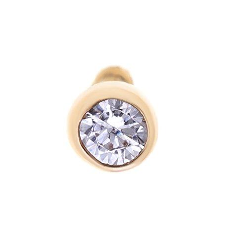 Lavari - 14K Yellow Gold 2mm White Cubic Zirconium Nose Ring Straight Stud Bezel ()