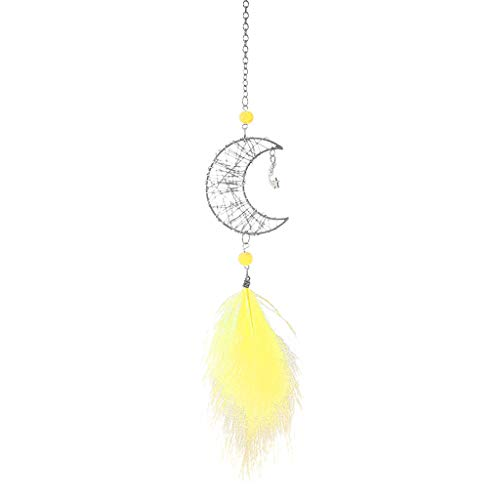 Fan-Ling Hollow Star Creative Moon Feather Car Pendant Hand-Wound Car Pendant, Handmade Dream Catcher Net Hanging Pendant, Wedding Decoration,Home Car Decoration Decor,Feathers Craft Gift (H) (Die Purple Mirror)