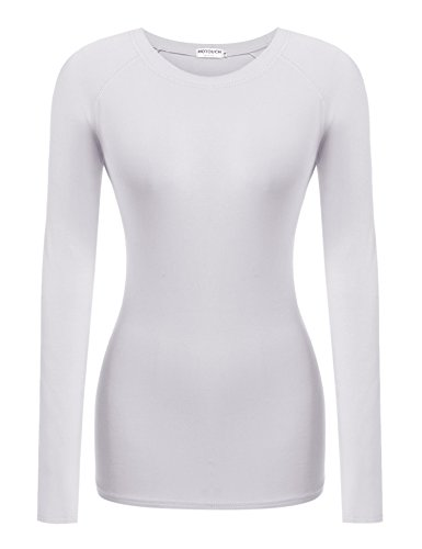 HOTOUCH Mujer Camiseta Básica de Manga Larga Suave para Mujer T-shirt Top deporte Blanco
